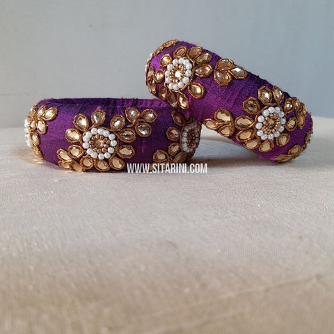 Raw Silk Bangles-Purple-Broad-Sitarini