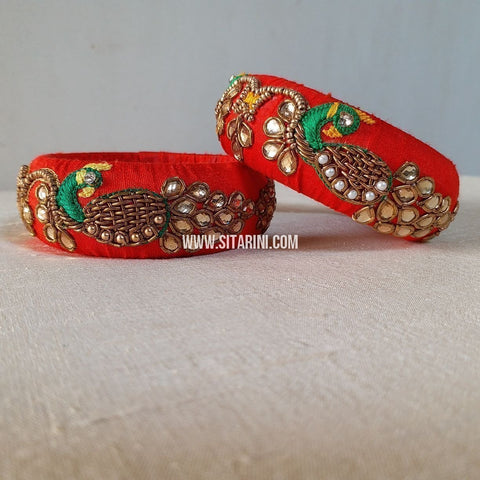 Raw Silk Bangles-Red-Broad-Sitarini