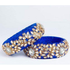 Raw Silk Bangles-Royal Blue-Broad-One Piece-Sitarini
