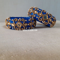 Raw Silk Bangles-Royal Blue-Broad-Sitarini