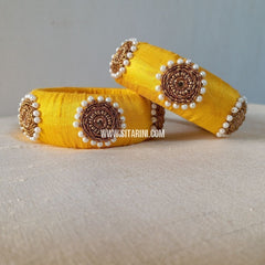Raw Silk Bangles-Yellow-Broad-Sitarini