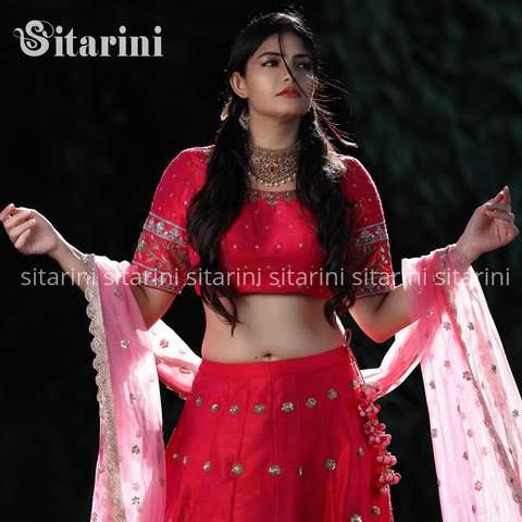 Reddish Pink Designer Lehenga and Blouse with Baby Pink Dupatta