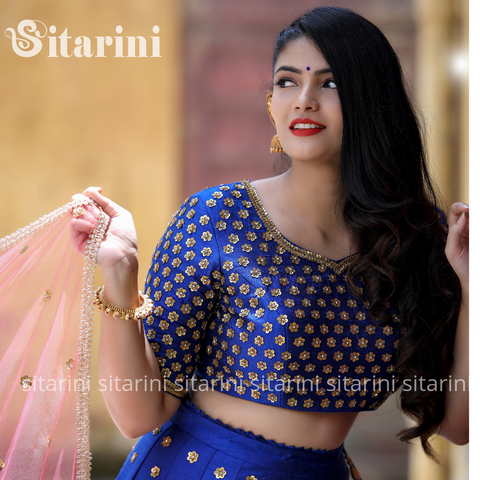 Royal Blue Designer Lehenga and Blouse with Light Red Dupatta