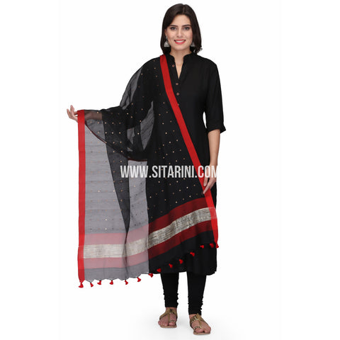 Silk Cotton Dupattas-Black-Sitarini-LWTSCD113