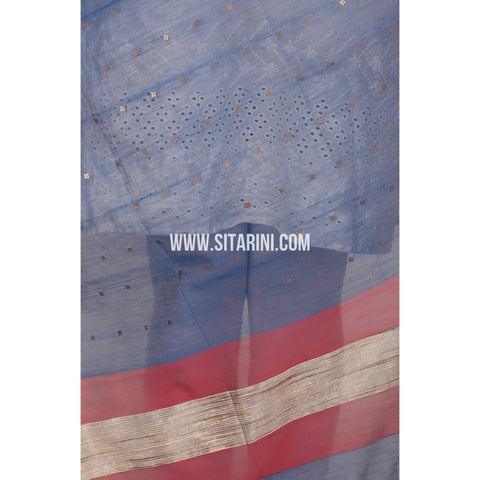 Silk Cotton Dupattas-Blue-Sitarini-LWTSCD117