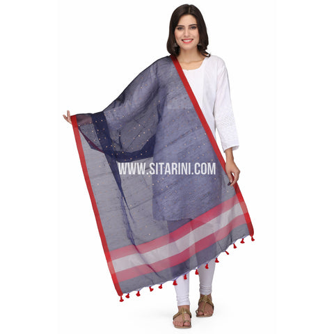 Silk Cotton Dupattas-Blue-Sitarini-LWTSCD118