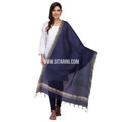 Silk Cotton Dupattas-Purple-Sitarini-LWTSCD109