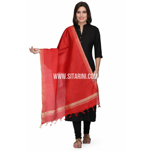 Silk Cotton Dupattas-Red-Sitarini-LWTSCD105