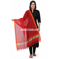 Silk Cotton Dupattas-Red-Sitarini-LWTSCD110