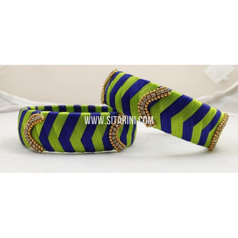 Silk Thread Bangles-Green and Blue-Set of 2-Sitarini-STB114