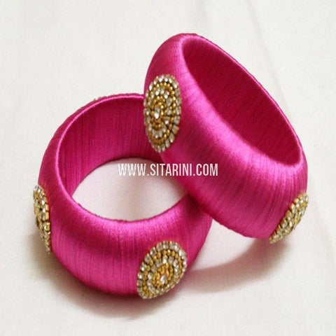 Silk Thread Bangles-Pink-Set of 2-Sitarini-SITSTB120