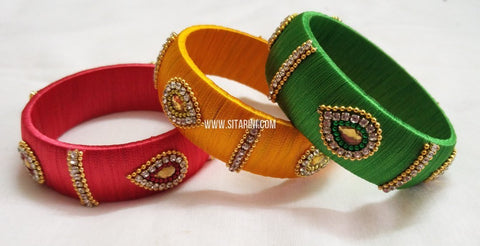 Silk Thread Bangles-Set of 3-Sitarini-SITSTB133