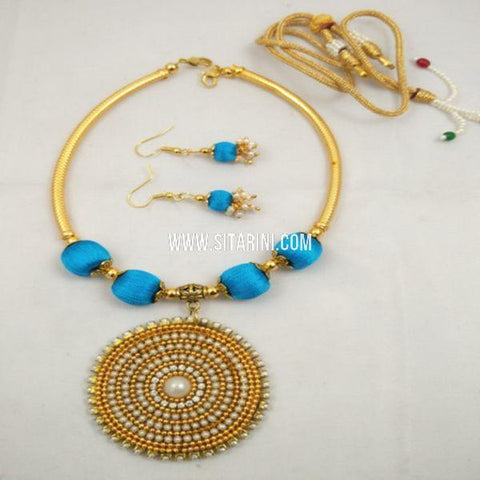 Silk Thread Jewellery Sets-Blue-Sitarini-SITSTJS160