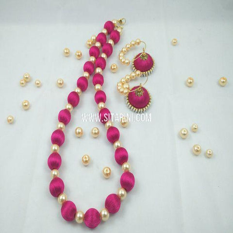 Silk Thread Jewellery Sets-Pink-Sitarini-SITSTJS152