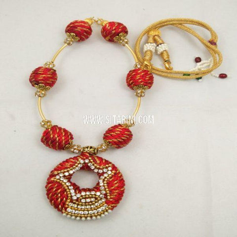 Silk Thread Jewelry Sets-Red-Sitarini-SITSTJS157