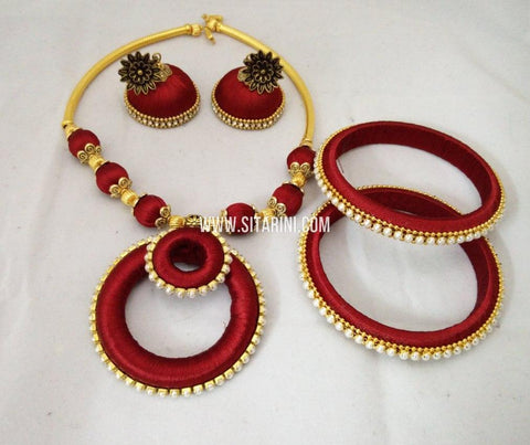 Silk Thread Jewelry Sets-Sitarini-SITSTJS175