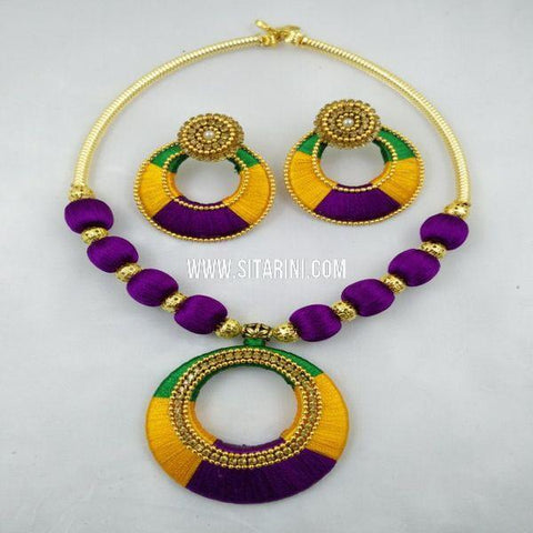 Silk Thread Jewelry Sets-Violet-Sitarini-SITSTJS153