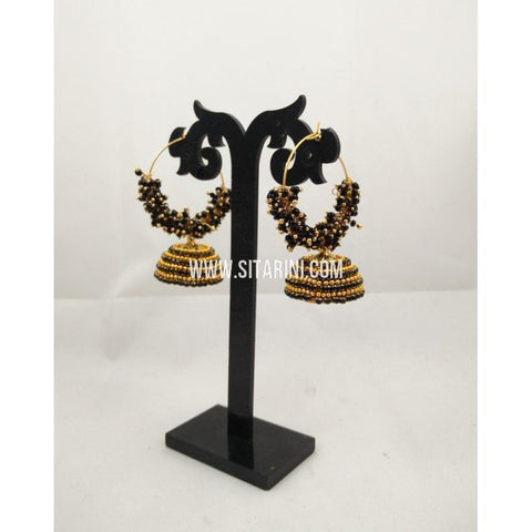 Silk Thread Jhumkas-Black and Gold-Sitarini-STJ114