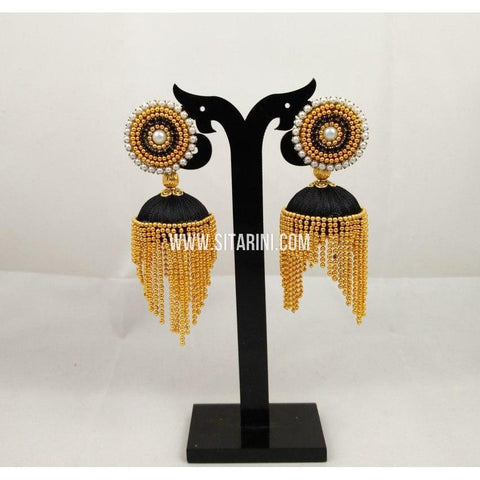 Silk Thread Jhumkas-Black and Gold-Sitarini-STJ115