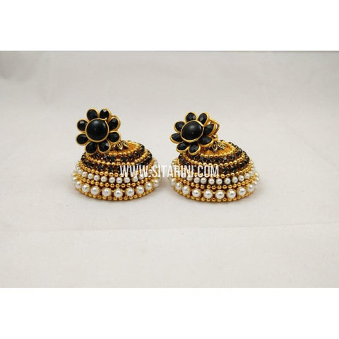 Silk Thread Jhumkas-Black and Gold-Sitarini-STJ124