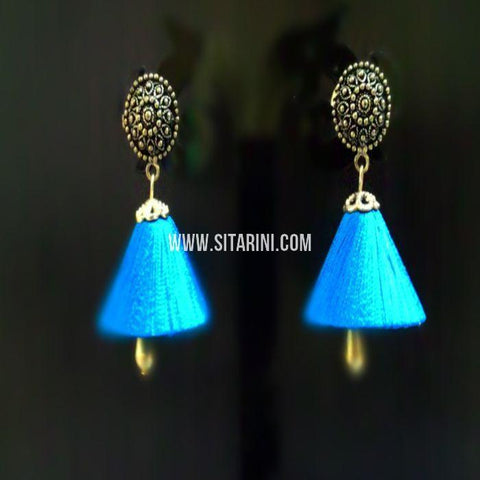 Silk Thread Jhumkas-Blue-Sitarini-SITSTJ159