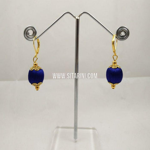 Silk Thread Jhumkas-Blue-Sitarini-SITSTJ161