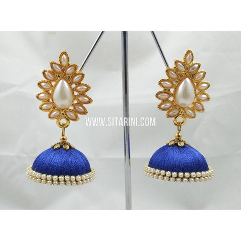 Silk Thread Jhumkas-Blue-Sitarini-STJ123
