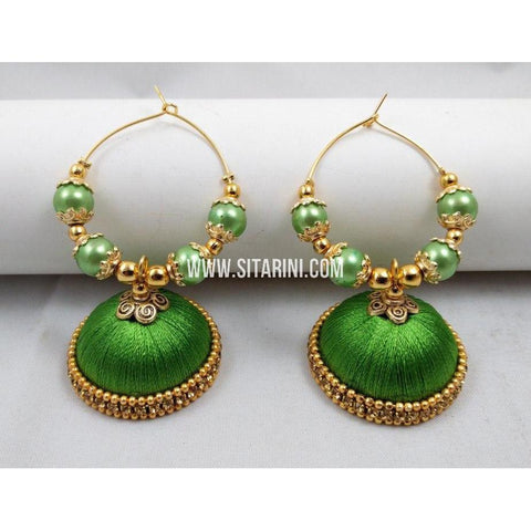 Silk Thread Jhumkas-Green-Sitarini-STJ121