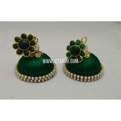 Silk Thread Jhumkas-Green-Sitarini-STJ122