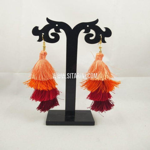 Silk Thread Jhumkas-Multicolor-Sitarini-SITSTJ158