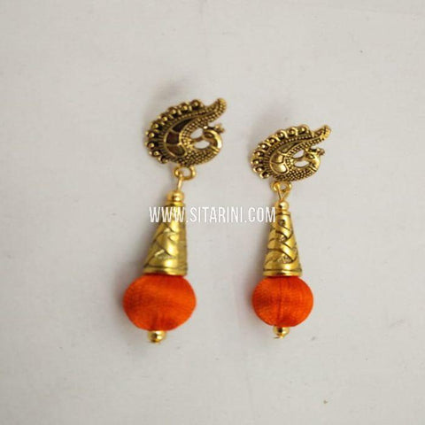 Silk Thread Jhumkas-Orange-Sitarini-SITSTJ156