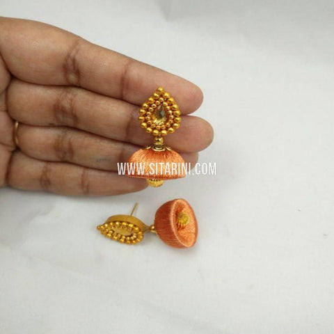 Silk Thread Jhumkas-Orange-Sitarini-SITSTJ157