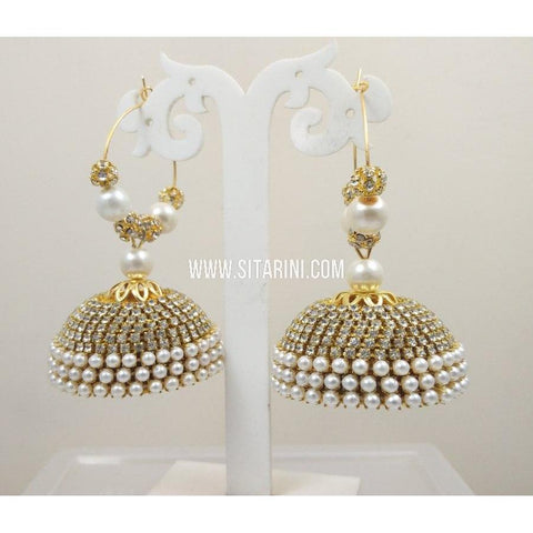 Silk Thread Jhumkas-Pearls and White Stones-Sitarini-STJ117