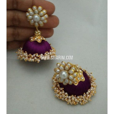 Silk Thread Jhumkas-Purple-Sitarini-STJ118