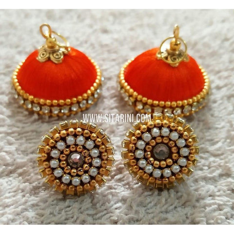 Silk Thread Jhumkas-Red-Sitarini-STJ120