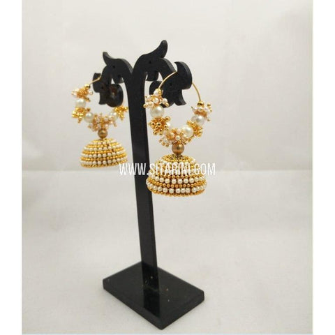 Silk Thread Jhumkas-Yellow-Sitarini-STJ113