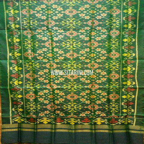 Single Ikkat Patola Silk Dupatta-Green-Sitarini-SITPAD301