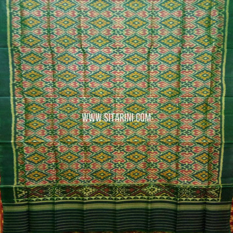 Single Ikkat Patola Silk Dupatta-Green-Sitarini-SITPAD302