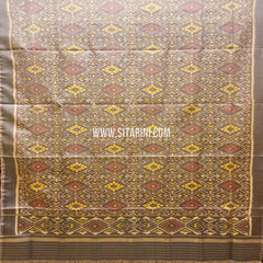 Single Ikkat Patola Silk Dupatta-Multicolor-Sitarini-SITPAD306