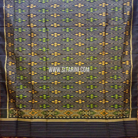Single Ikkat Patola Silk Dupatta-Multicolor-Sitarini-SITPAD309