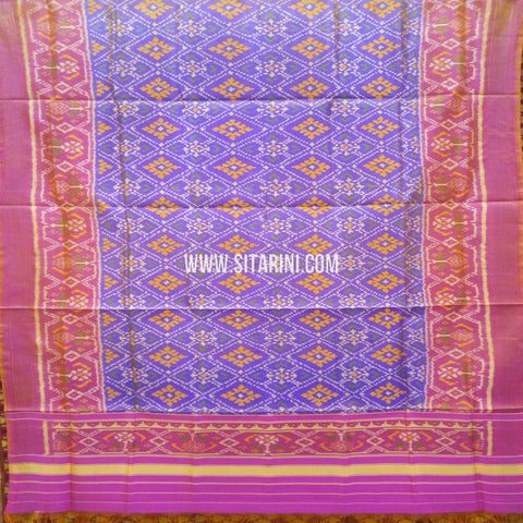 Single Ikkat Patola Silk Dupatta-Multicolor-Sitarini-SITPAD316