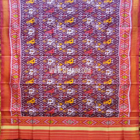 Single Ikkat Patola Silk Dupatta-Multicolor-Sitarini-SITPAD317