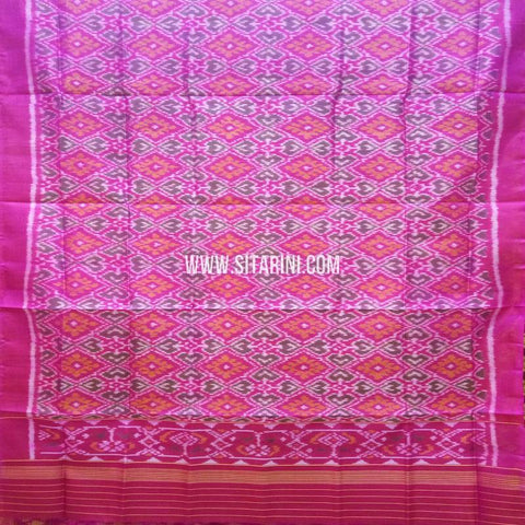 Single Ikkat Patola Silk Dupatta-Multicolor-Sitarini-SITPAD320
