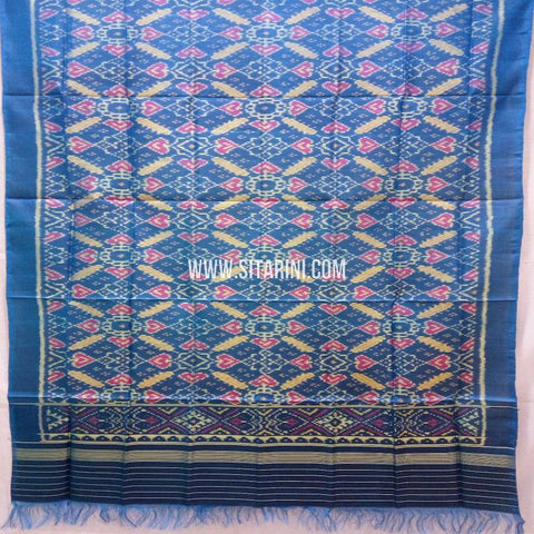 Single Ikkat Patola Silk Dupatta-Multicolor-Sitarini-SITPAD322