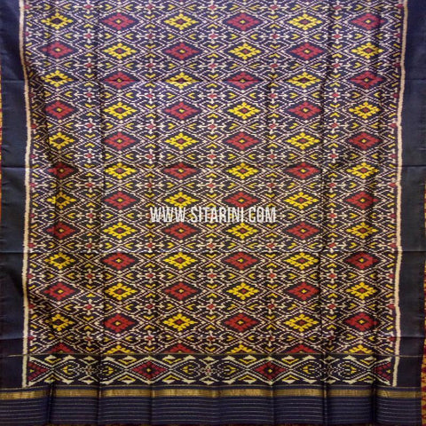 Single Ikkat Patola Silk Dupatta-Multicolor-Sitarini-SITPAD326