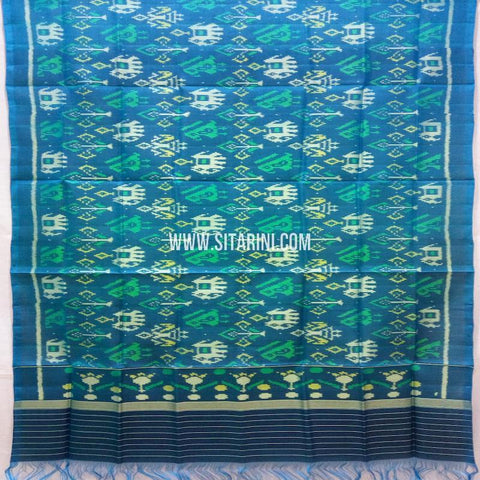 Single Ikkat Patola Silk Dupatta-Multicolor-Sitarini-SITPAD329