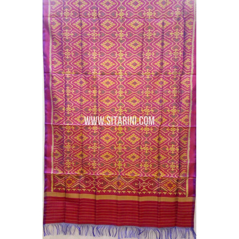 Single Ikkat Patola Silk Dupatta-Multicolour-Sitarini-SITPAD212