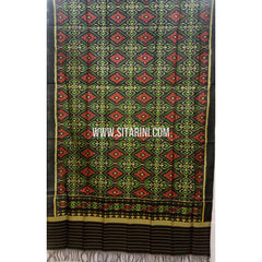 Single Ikkat Patola Silk Dupatta-Multicolour-Sitarini-SITPAD228