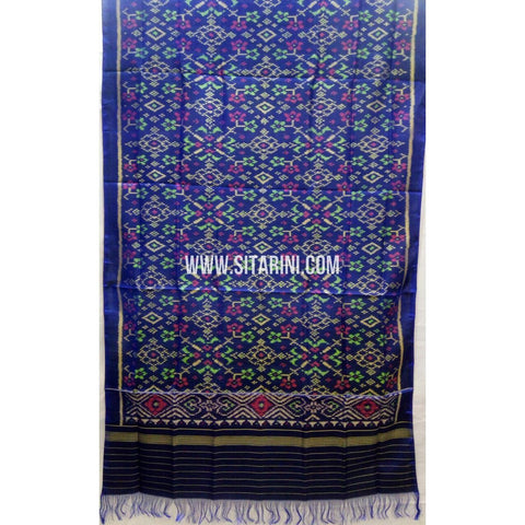 Single Ikkat Patola Silk Dupatta-Multicolour-Sitarini-SITPAD235