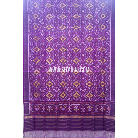 Single Ikkat Patola Silk Dupatta-Multicolour-Sitarini-SITPAD267
